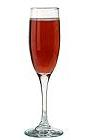 The Kir Imperial drink is made from champagne and raspberry liqueur, and served in a champagne flute.