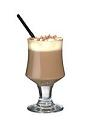The Lumumba drink is made from brandy, hot chocolate and whipped cream, and served in a wine glass or an Irish coffee glass.