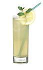 The Maomao drink is made from rum, triple sec, white wine, pear juice, sugar syrup and lemon juice, and served in a highball glass.