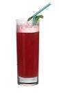 The Marianne drink is made from gin, strawberry liqueur, pineapple juice and grenadine, and served in a highball glass.