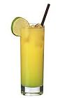 The Melon Bali drink is made from vodka, Midori melon liqueur and orange juice, and served in a highball glass.