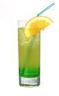 The Midori Splice drink is made from Midori Melon Liqueur, Malibu Coconut Rum and pineapple juice, and served in a highball glass.