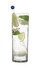 The Vodka Lime drink is made from vodka and lime wedges, and served in a highball glass.