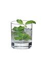The Mojito Lowball drink is made from light rum, club soda, mint, lime juice and sugar syrup, and served in an old-fashioned glass.