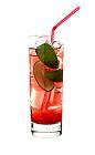 The Mr Casino drink is made from raspberry rum (aka Bacardi Razz), Passoa, lime juice, cranberry juice, lemon-lime soda and Red Bull, and served in a highball glass.
