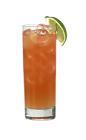 The Passoa Passion drink is made from vodka, Passoa, lemon-lime soda and Red Bull, and served in a highball glass.