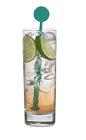The Peach Tonic drink is made from Sourz Peach, tonic water and lime wedges, and served in a highball glass.