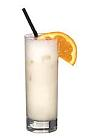 The Piña Colada drink is made from white rum, Malibu coconut rum, milk and pineapple juice, and served in a highball glass.