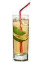 The Sail Away drink is made from cognac, lime wedges and ginger ale, and served in a highball glass.