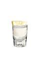 The Lemon Drop shot is made from vodka and a lemon wedge coated in sugar, and served in a shot glass.