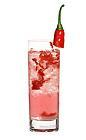 The Spicy Sara drink is made from pepper vodka (aka Absolut Peppar), strawberry liqueur, red chili pepper, green chili pepper and tonic water, and served in a highball glass.