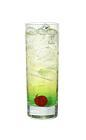 The Studio 54 drink is made from gin, Midori Melon Liqueur and tonic water, and served in a highball glass.
