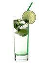 The Suspicious Larsson drink is made from vodka, Sourz Apple, club soda, lime and lemon balm, and served in a highball glass.