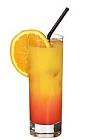 The Tequila Sunrise drink is made from tequila, orange juice and grenadine, and served in a highball glass.