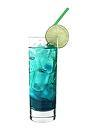 The Rag drink is made from citrus vodka (aka Absolut Citron), Pisang Ambon, blue curacao, Red Bull and club soda, and served in a highball glass.