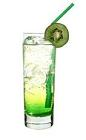The Version 3 drink is made from Bacardi Razz, Midori Melon Liqueur, lime juice and lemon-lime soda, and served in a highball glass.