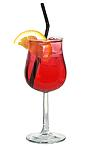 The Wine Cooler drink is made from white wine, grenadine and lemon-lime soda, and served in a wine glass.
